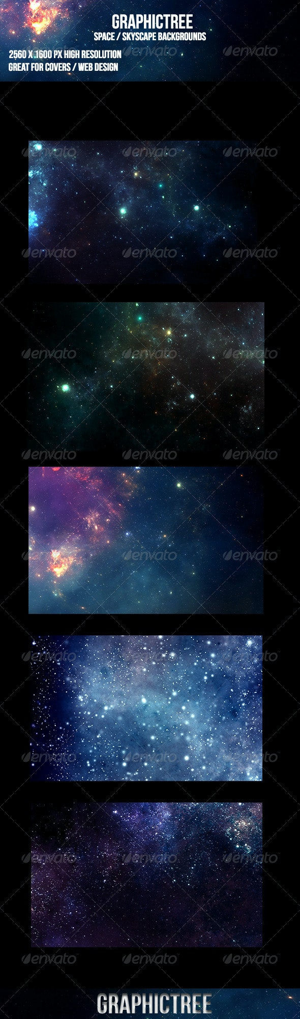 5 Space Skyscape Backgrounds - Backgrounds Graphics