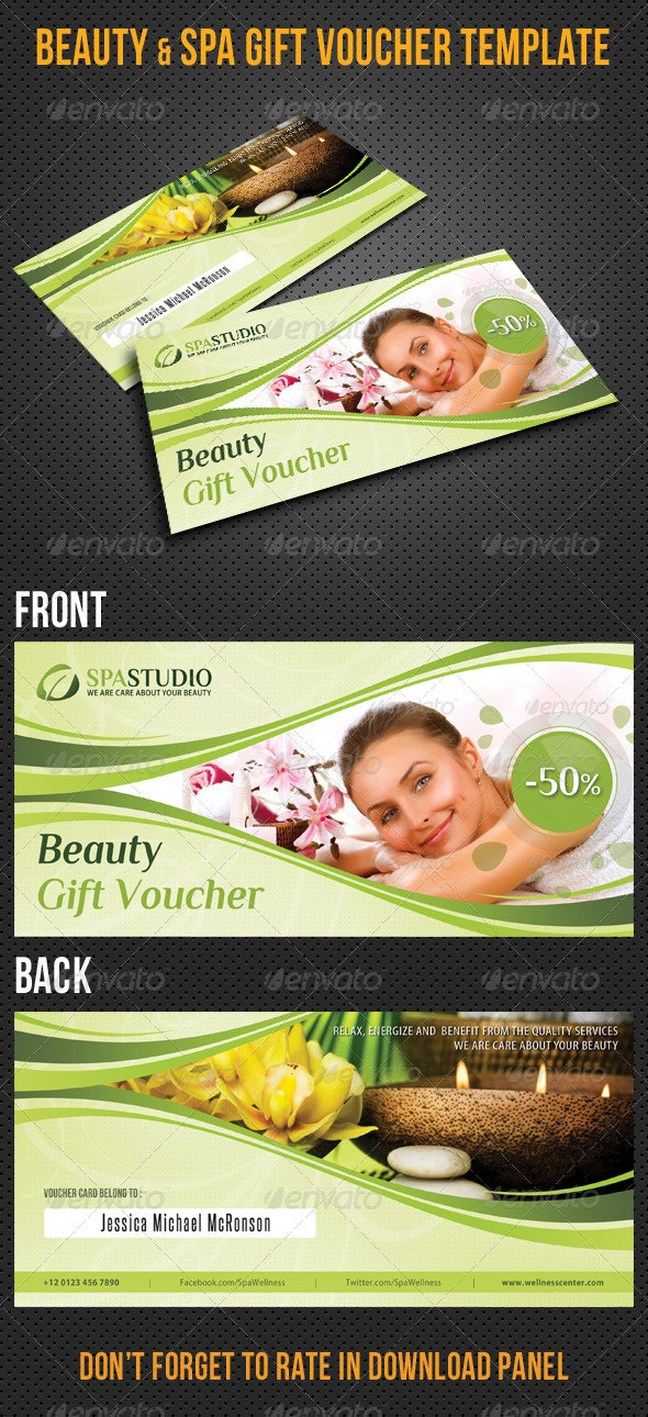 Beauty and Spa Gift Voucher V32 - Cards & Invites Print Templates