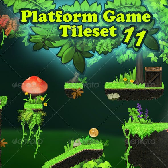Platform Game Tileset 11 HD: Magic Forest