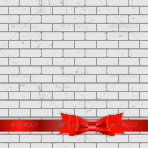 Background of Brick Wall Texture with Bow - Backgrounds Decorative