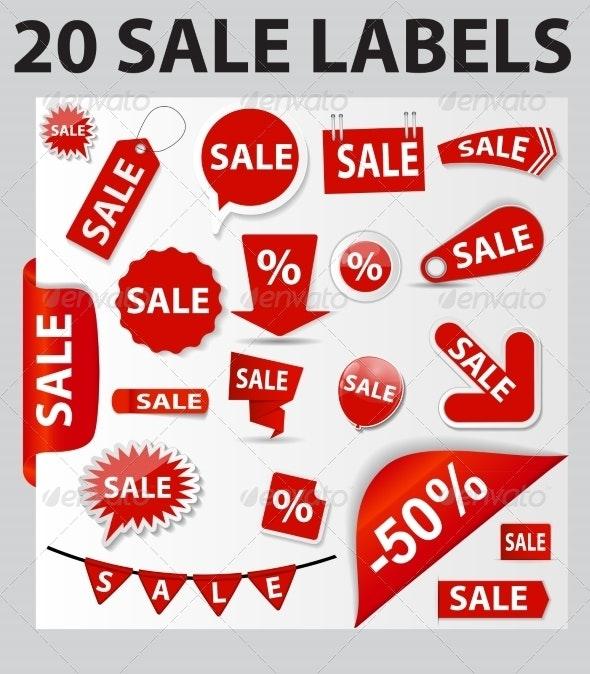 20 Sale Labels - Decorative Symbols Decorative