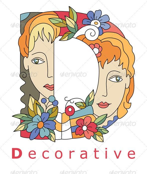 Letter D Decorative - Decorative Symbols Decorative