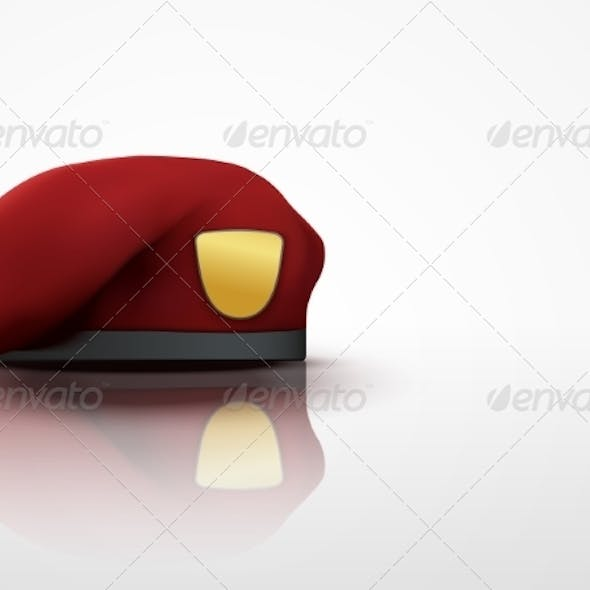Light Background Maroon Military Beret