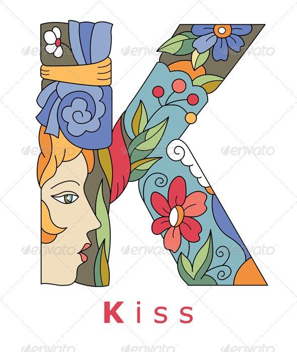Letter K Kiss - Decorative Symbols Decorative