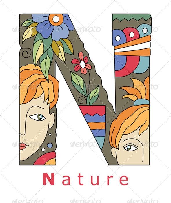Letter N Nature - Decorative Symbols Decorative