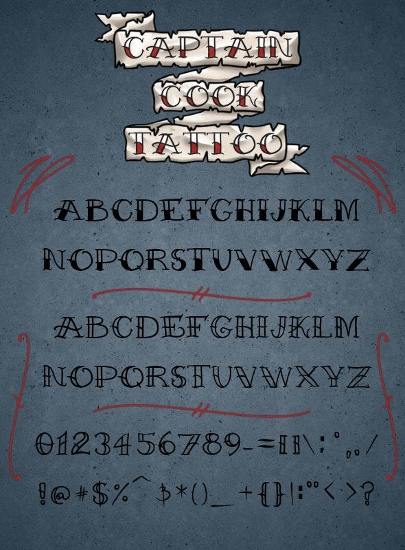 Captain Cook Tattoo Font - Miscellaneous Decorative
