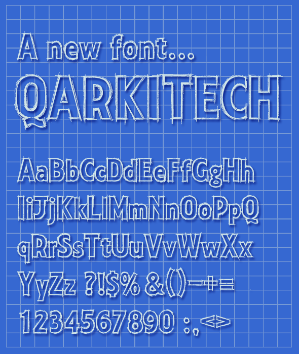 Qarkitech Lettering, Blueprint Minimal Style - Sans-Serif Fonts