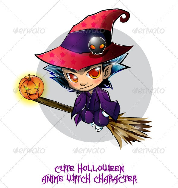 Halloween Anime Witch - Characters Vectors