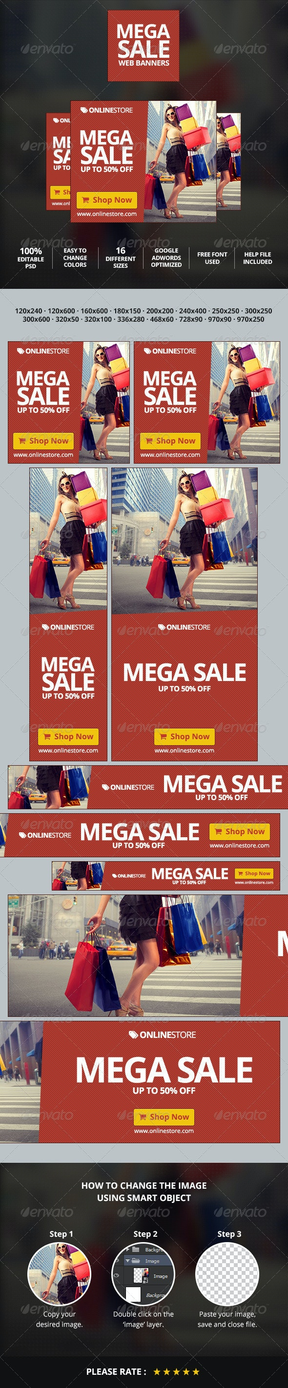 Mega Sale Web Ad Marketing Banners - Banners & Ads Web Elements