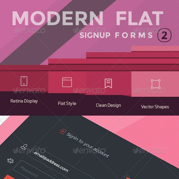 Modern Flat SignUp Forms 2