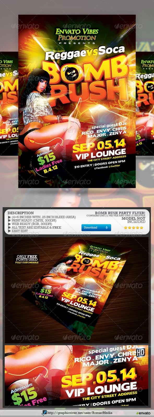 Reggae vs Soca Bomb Rush Party Flyer - Clubs & Parties Events