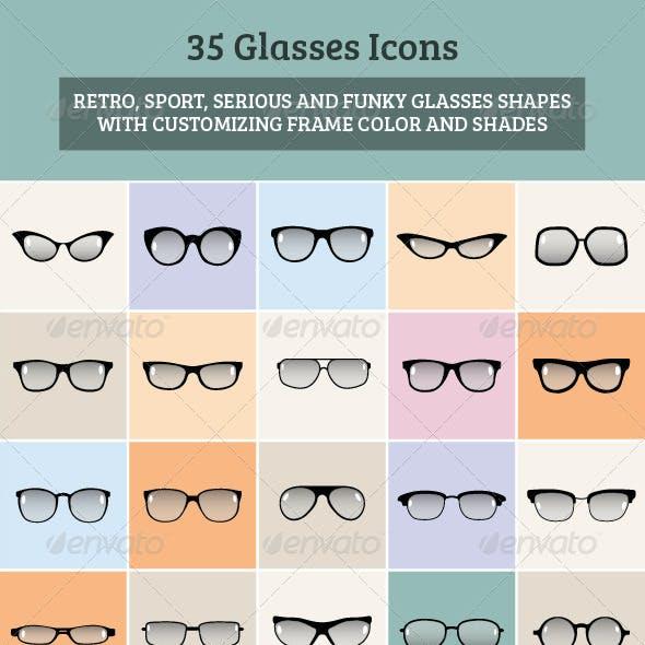 35 Glasses Icons Set