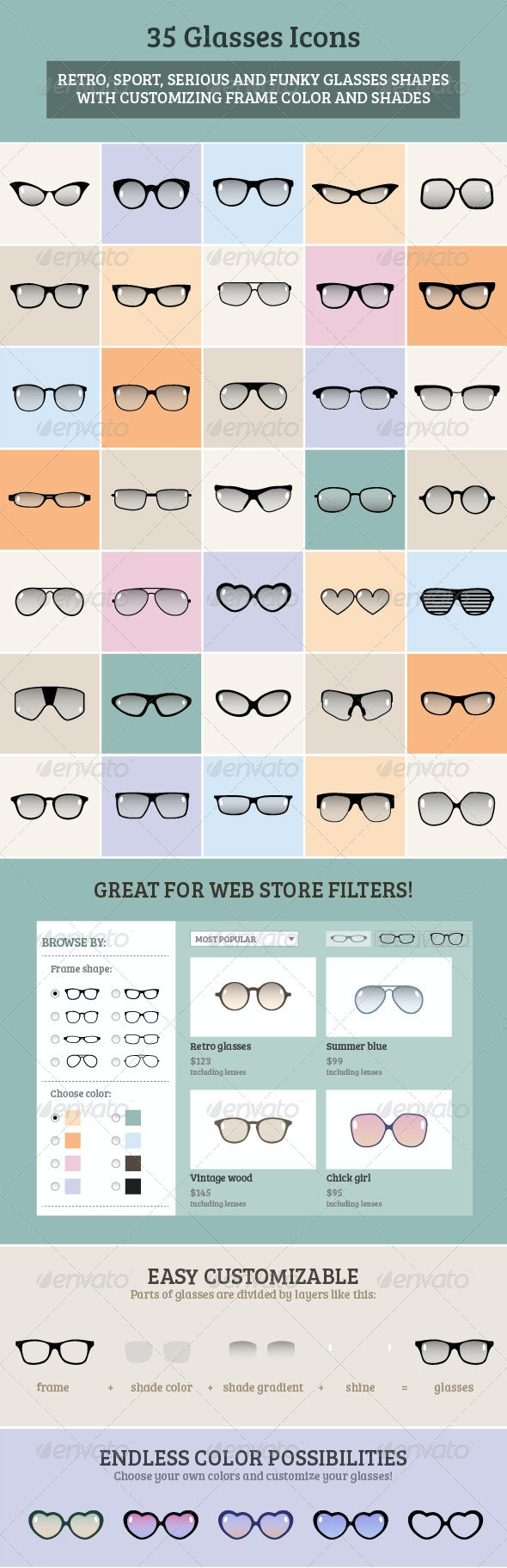 35 Glasses Icons Set - Miscellaneous Illustrations