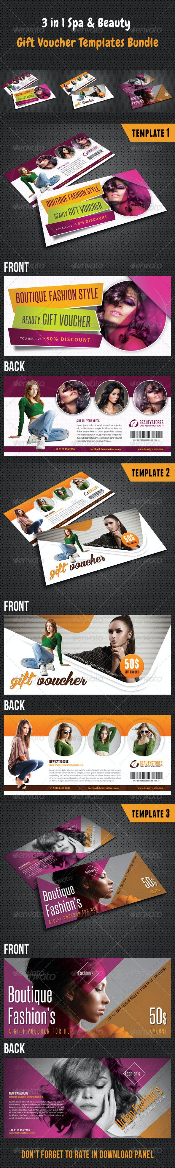 3 in 1 Beauty and Spa Gift Voucher Bundle 02 - Cards & Invites Print Templates