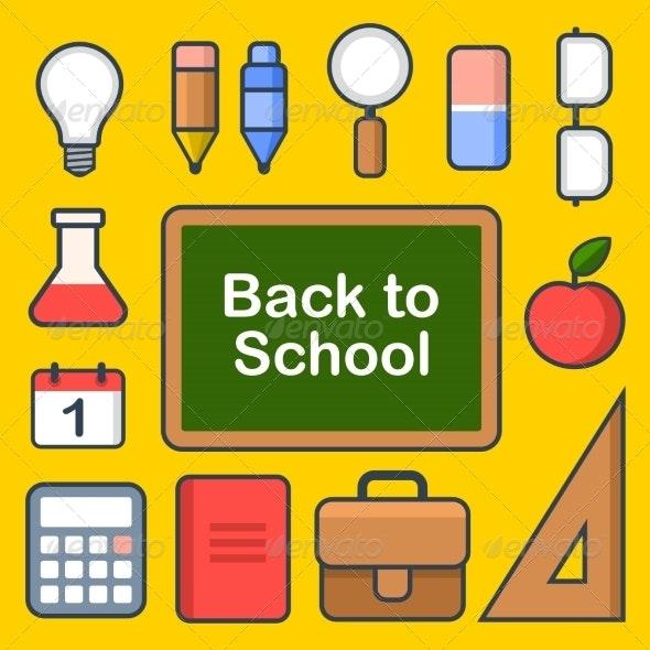 School Icons Set. Vector