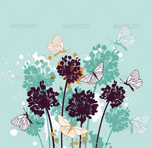 Background with Butterflies and Wildflowers - Flowers & Plants Nature