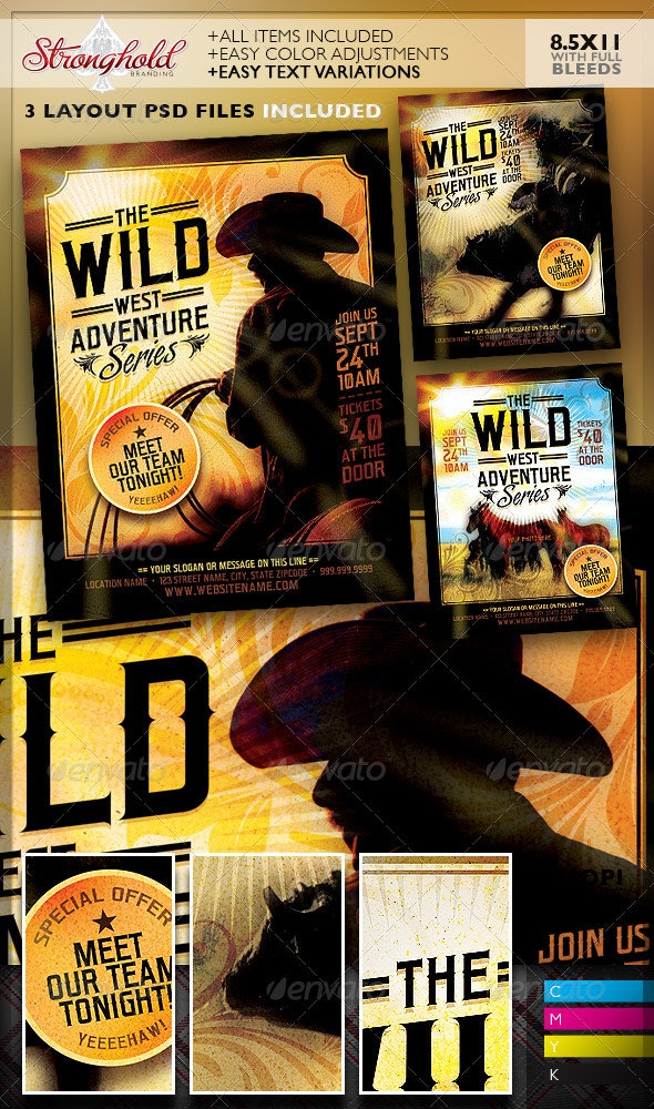 Wild West Flyer Template Set - Clubs & Parties Events