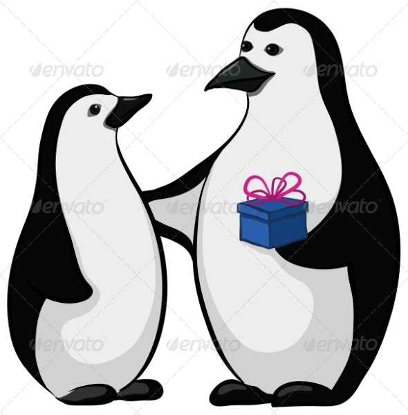 Penguins with a Gift Box - Christmas Seasons/Holidays
