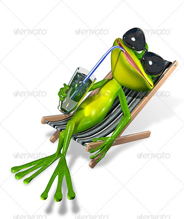 Frog in a Deck Chair - Characters 3D Renders