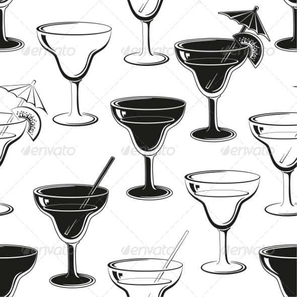 Seamless Background, Glasses Silhouettes - Food Objects