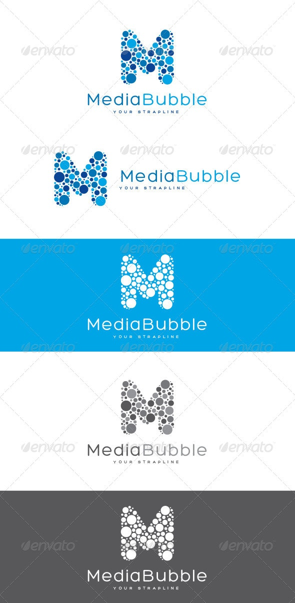 Media Bubble Letter M Logo - Letters Logo Templates
