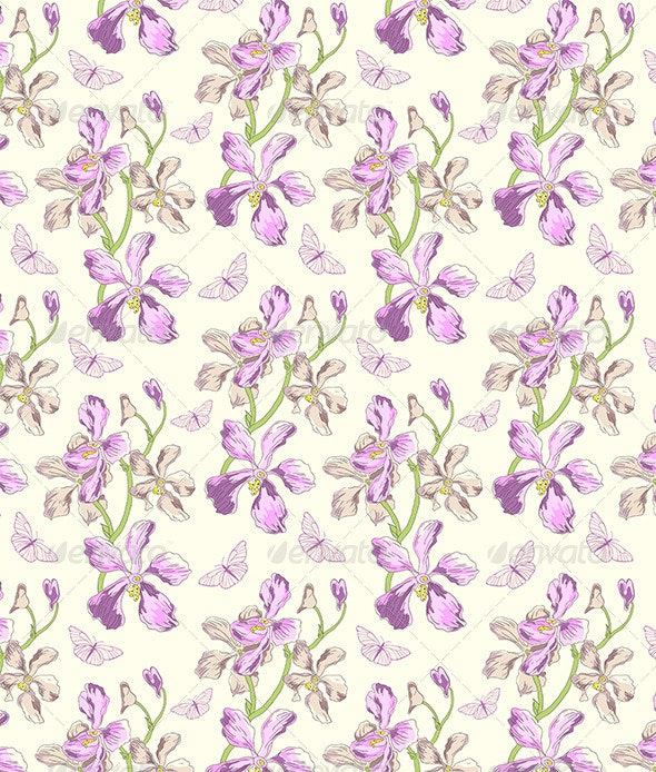 Pattern with Orchids and Butterflies - Patterns Decorative
