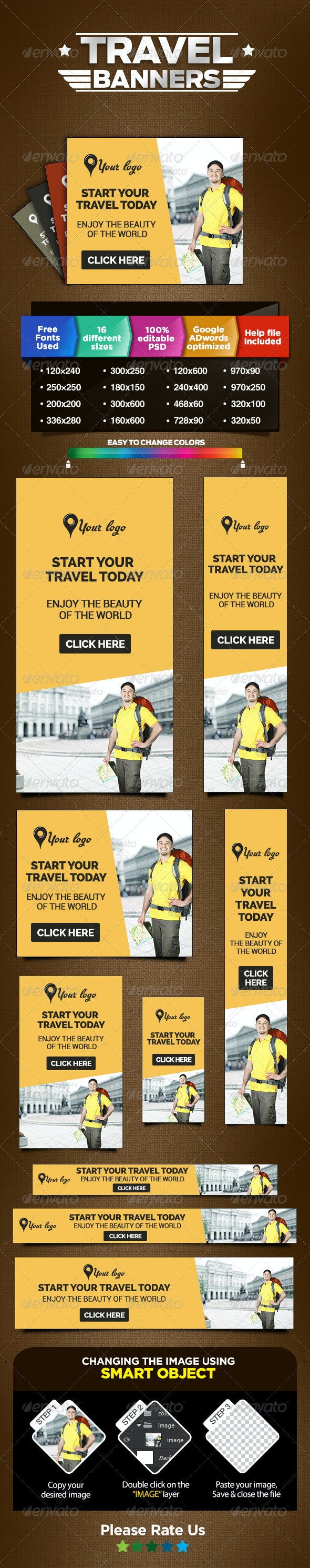 Travel Ads - Web Marketing Banners - Banners & Ads Web Elements