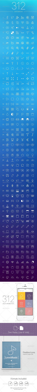 312 Line Icons - Web Icons