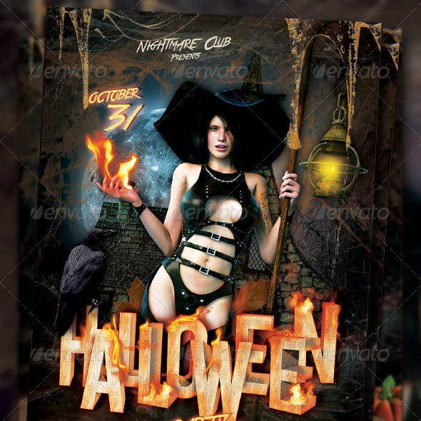 Hot Hallowen Party Flayer Template