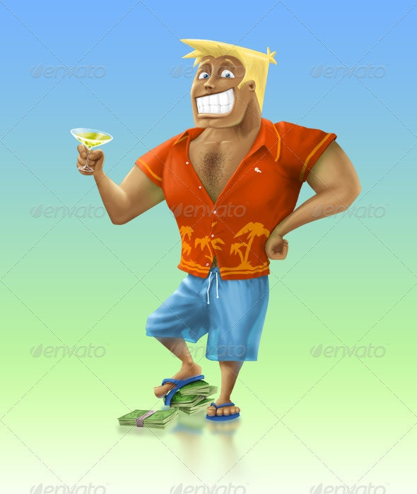 Man in Orange Shirt with Money and Wineglass - People Illustrations