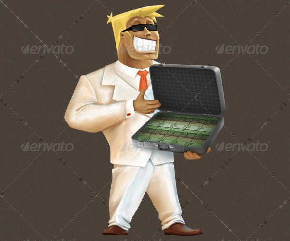 Businessman with a Suitcase Full of Money
