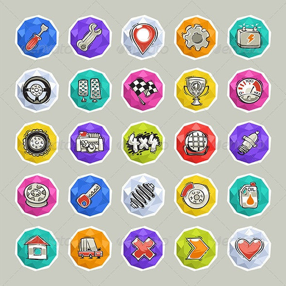 Cartoon Cars Icons Set 2 - Man-made objects Objects