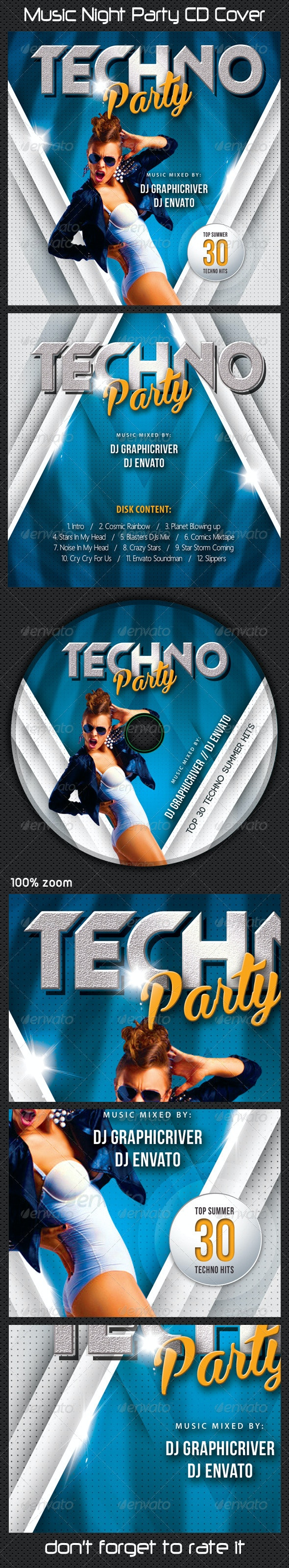Music Night Party CD Cover 09 - CD & DVD Artwork Print Templates