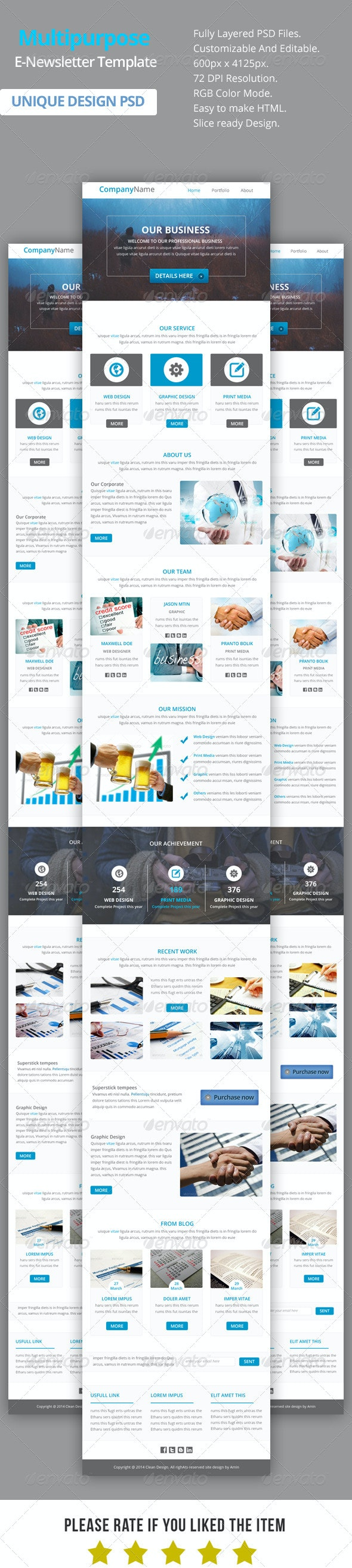 Multipurpose E-Newsletter Template V11 - E-newsletters Web Elements