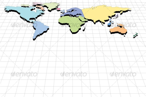 Perspective World Map - Objects Vectors