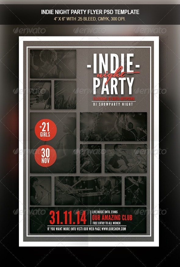 Indie Party Night Flyer - Flyers Print Templates