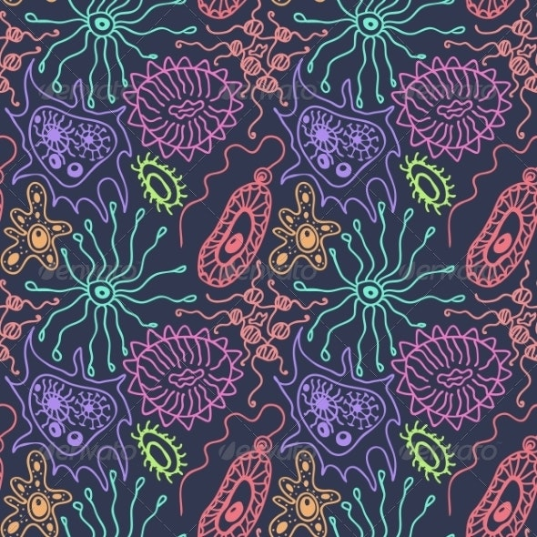 Seamless Pattern with Bacteria - Health/Medicine Conceptual
