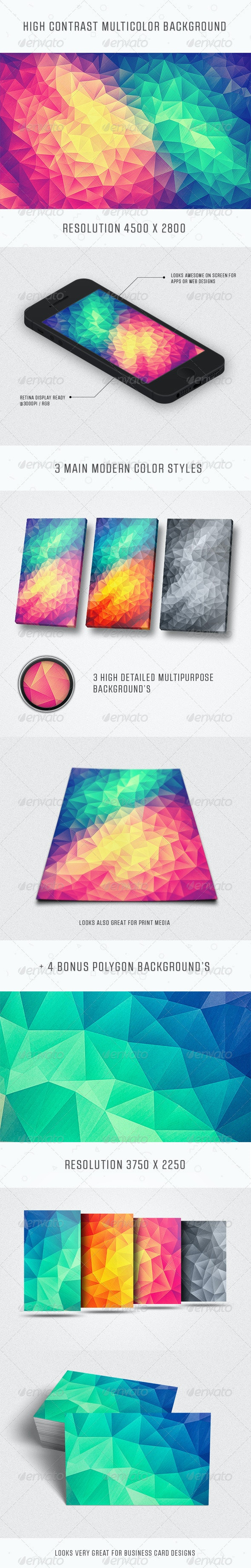Modern High Contrast Multicolor Polygon Background - Abstract Backgrounds