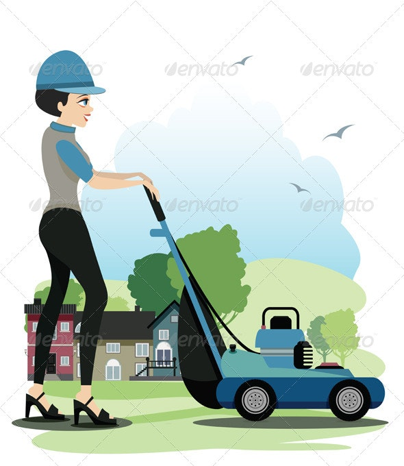 Woman Working Mowers - People Characters