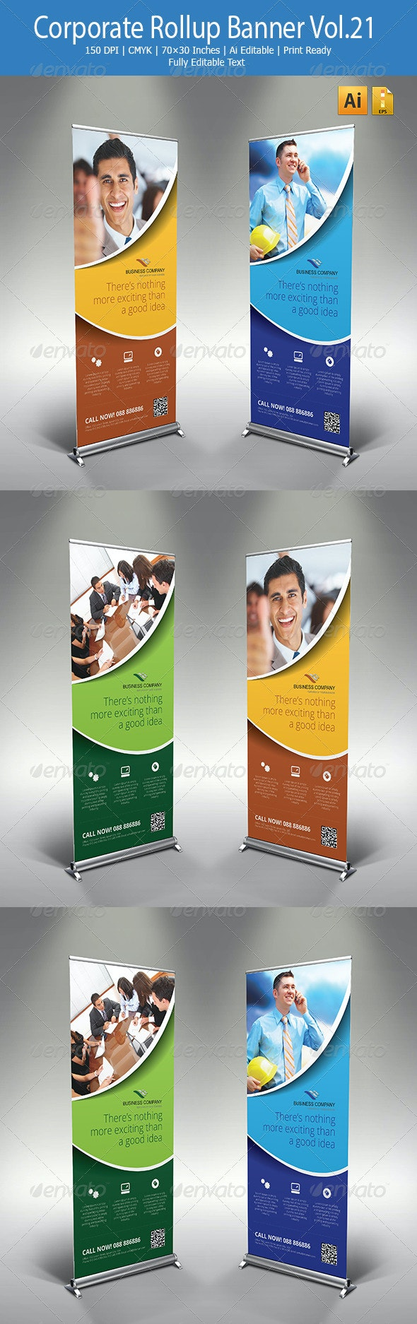 Corporate Rollup Banner Vol.21 - Signage Print Templates