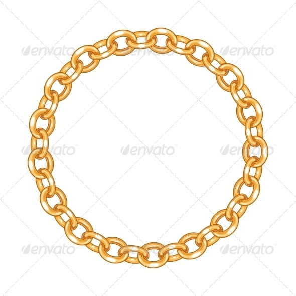 Round Frame Vector - Gold Chain - Borders Decorative
