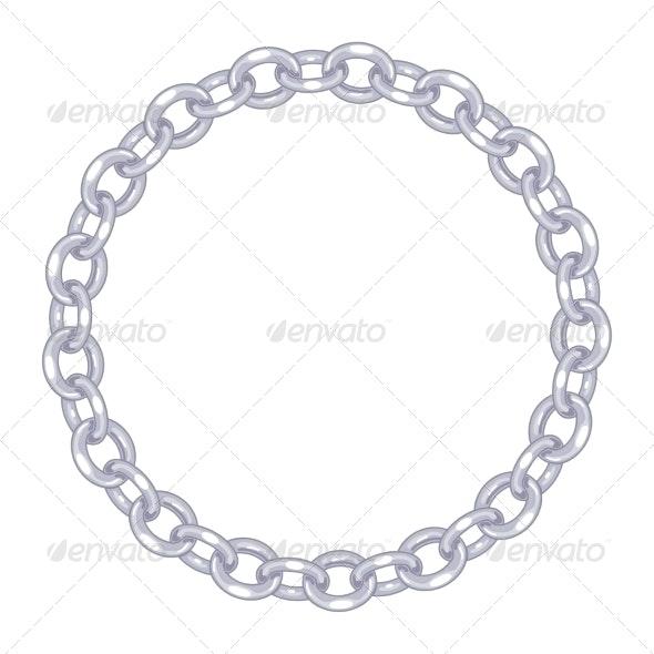 Round Frame Vector - Silver Chain - Borders Decorative