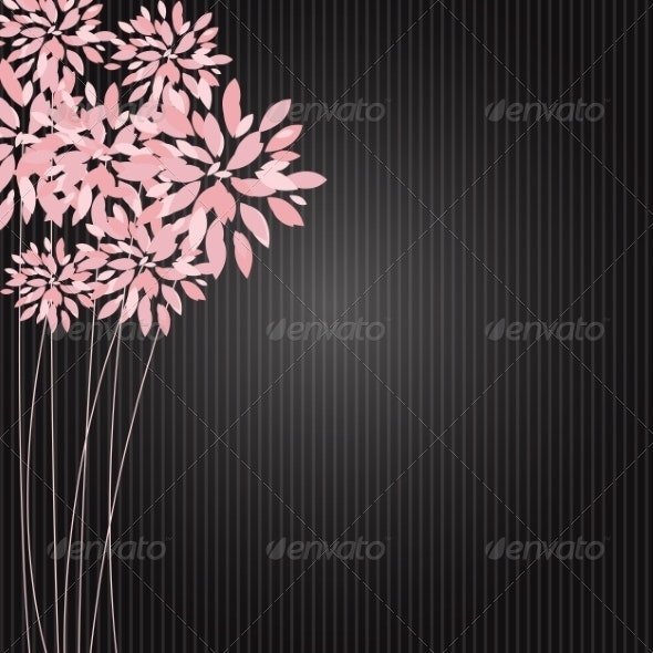 Stylish Floral Background Vector Illustration - Flowers & Plants Nature