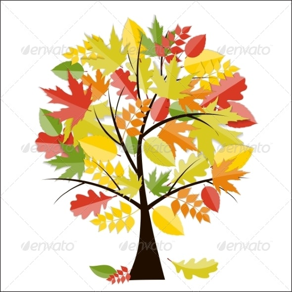 Shiny Autumn Natural Tree Background - Flowers & Plants Nature