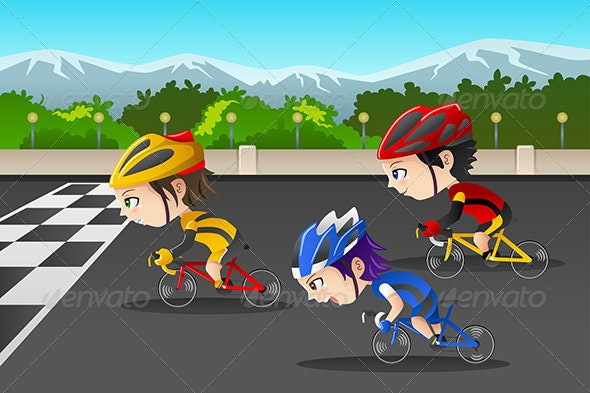 Kids in a Bicycle Race - People Characters