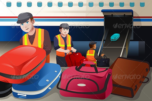 Workers Loading Luggage into an Airplane - People Characters