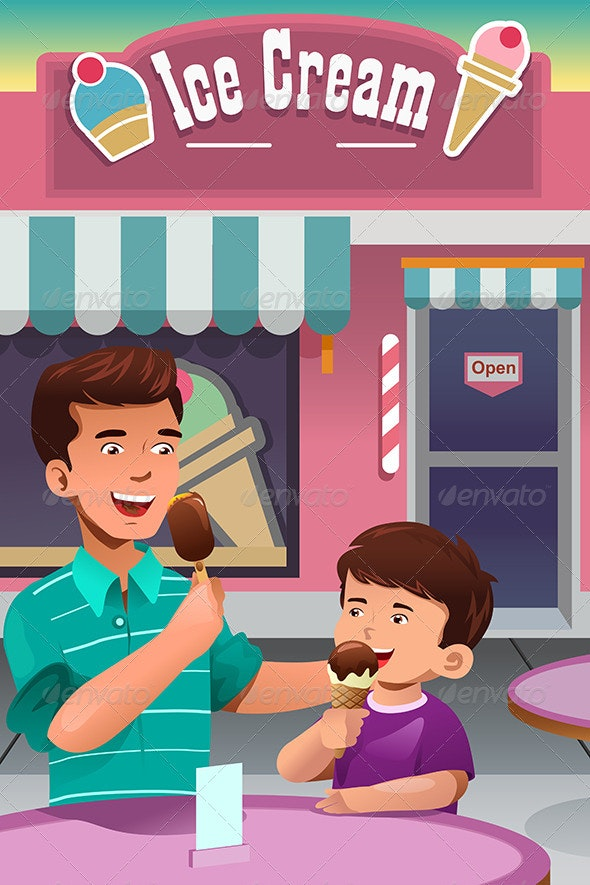 Father and Son Eating Ice Cream - People Characters