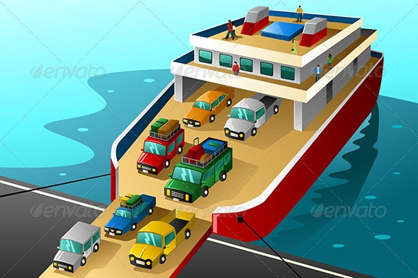 Cars in Vacation going into a Big Ferry - Travel Conceptual