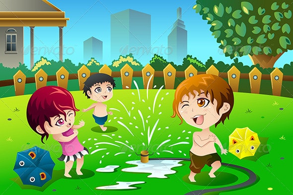 Children Playing with Sprinkler Water - People Characters