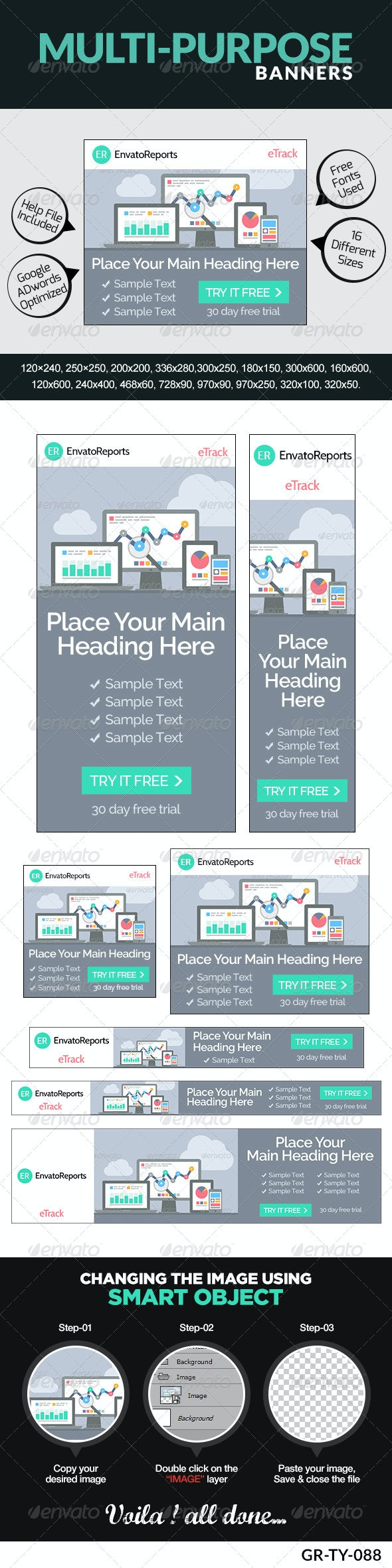 Multi Purpose Banner Ad Set - Banners & Ads Web Elements